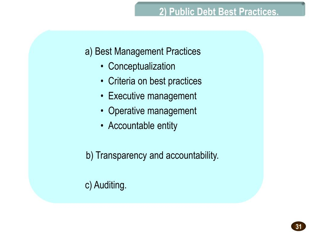 2) Public Debt Best Practices.