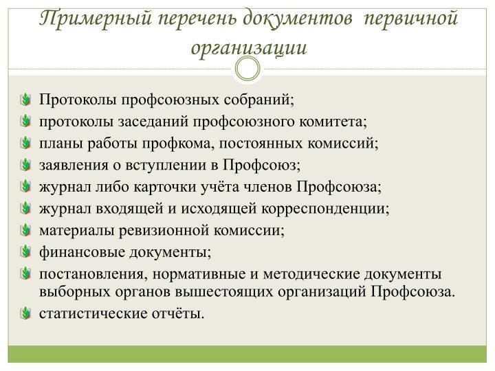 Примерный перечень документов  первичной организации