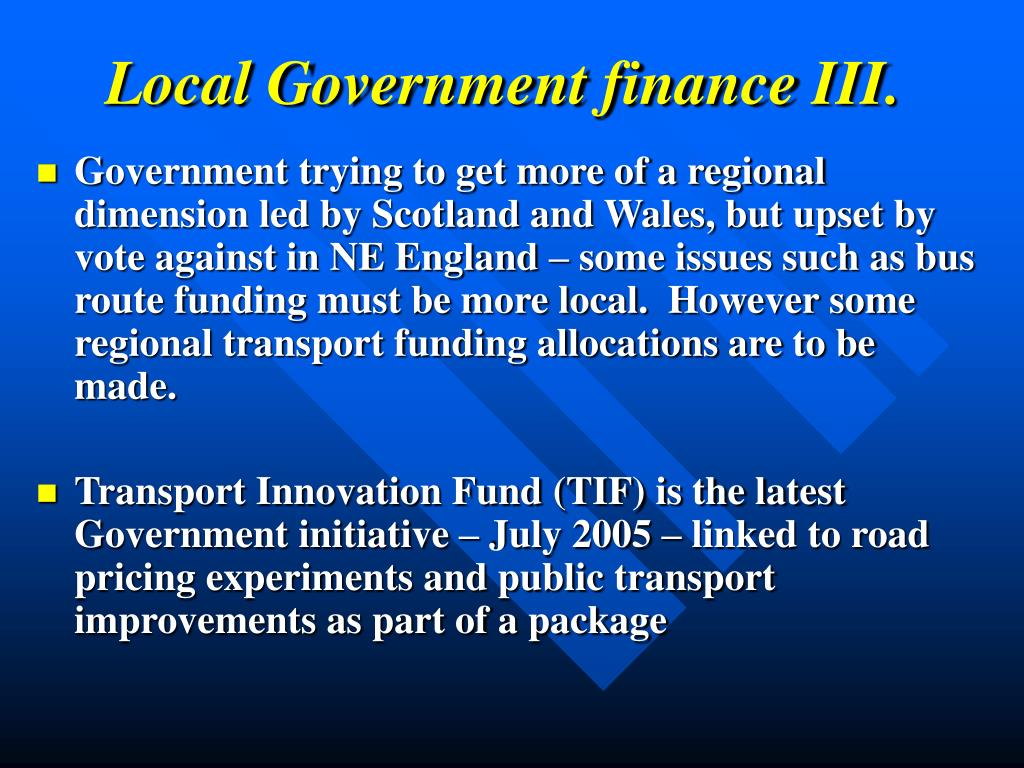 Local Government finance