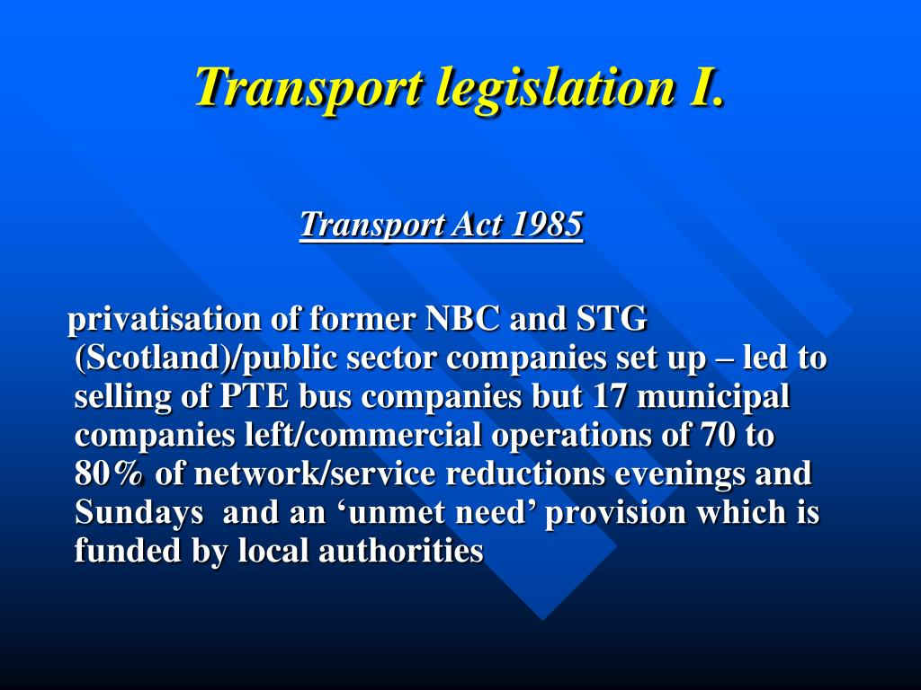 Transport legislation
