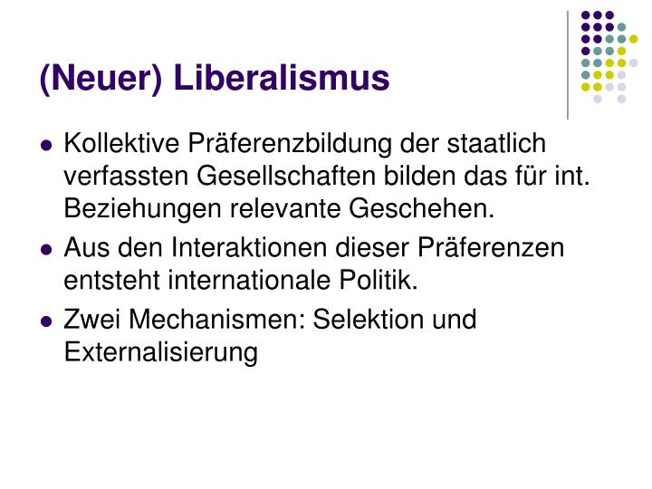 (Neuer) Liberalismus
