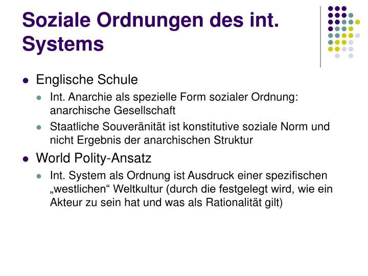Soziale Ordnungen des int. Systems