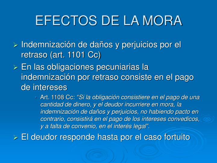 EFECTOS DE LA MORA