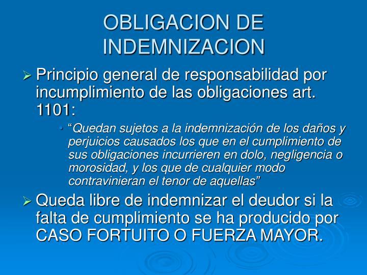 OBLIGACION DE INDEMNIZACION