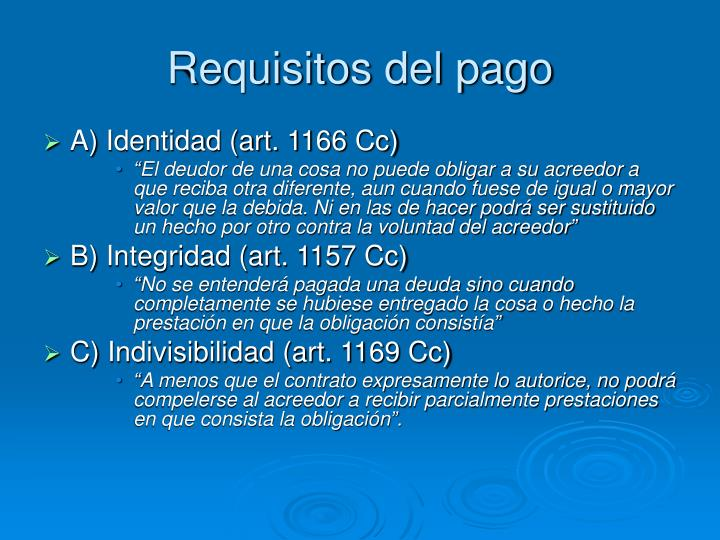 Requisitos del pago