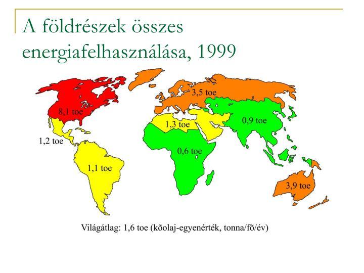 A földrészek összes energiafelhasználása, 1999