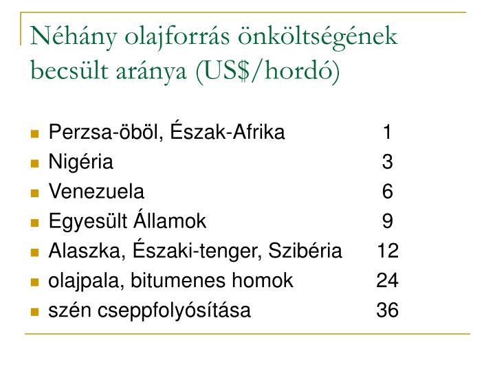 Néhány olajforrás önköltségének becsült aránya (US$/hordó)
