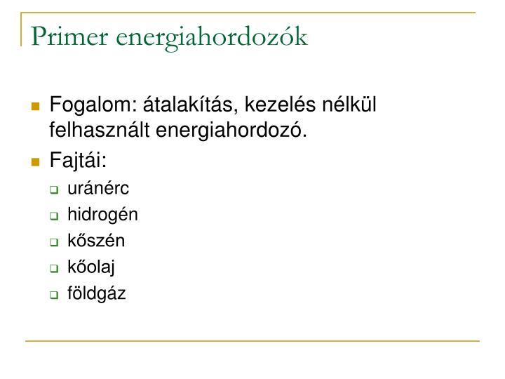 Primer energiahordozók