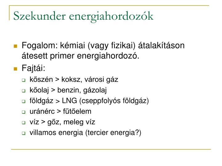 Szekunder energiahordozók