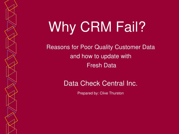 Reasons for Poor Quality Customer Data