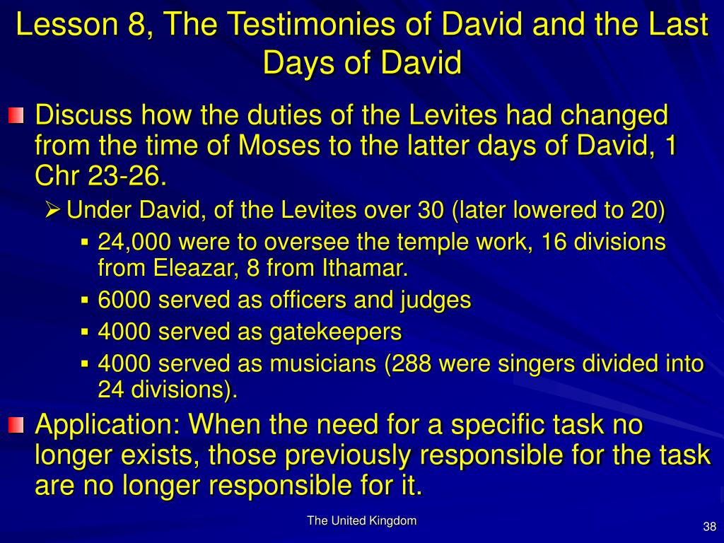 Lesson 8, The Testimonies of David and the Last Days of David