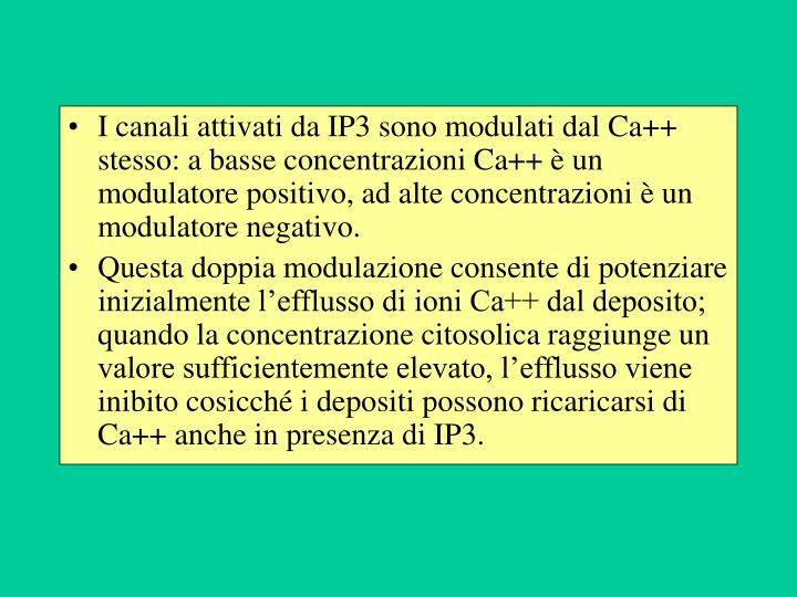 I canali attivati da IP3 sono modulati dal Ca++ stesso: a basse concentrazioni Ca++ è un modulatore positivo, ad alte concentrazioni è un modulatore negativo.