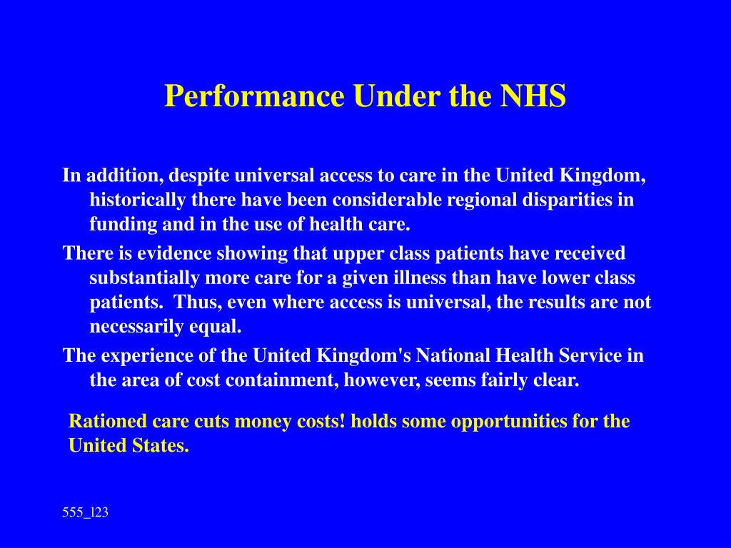 Performance Under the NHS