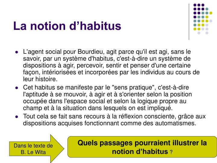 La notion d'habitus