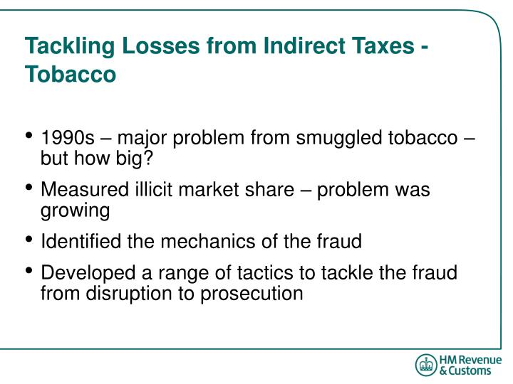 Tackling losses from indirect taxes tobacco l.jpg