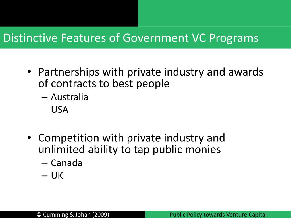 Distinctive Features of Government VC Programs