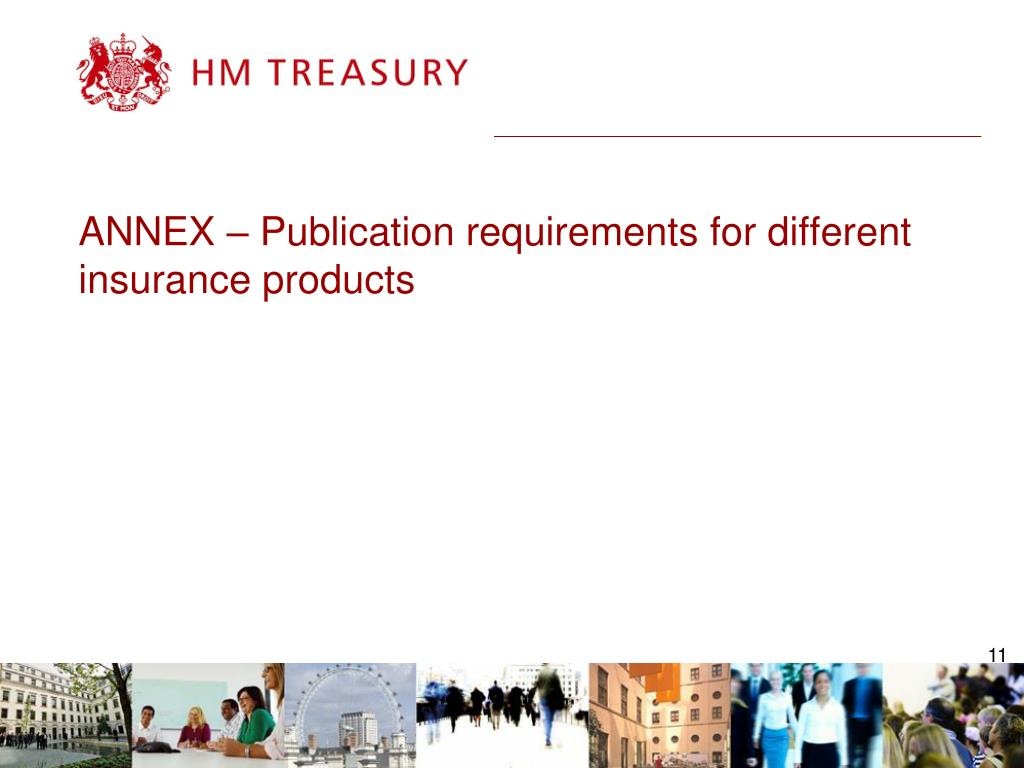 ANNEX – Publication requirements for different insurance products