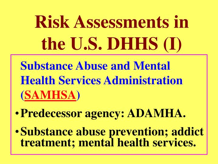 Risk Assessments in the U.S. DHHS (I)