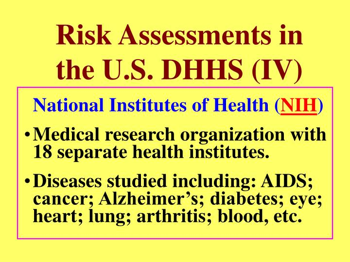 Risk Assessments in the U.S. DHHS (IV)