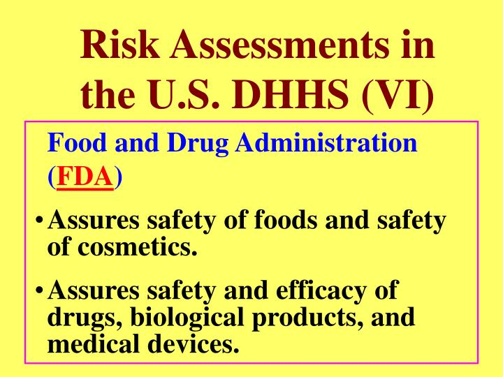 Risk Assessments in the U.S. DHHS (VI)