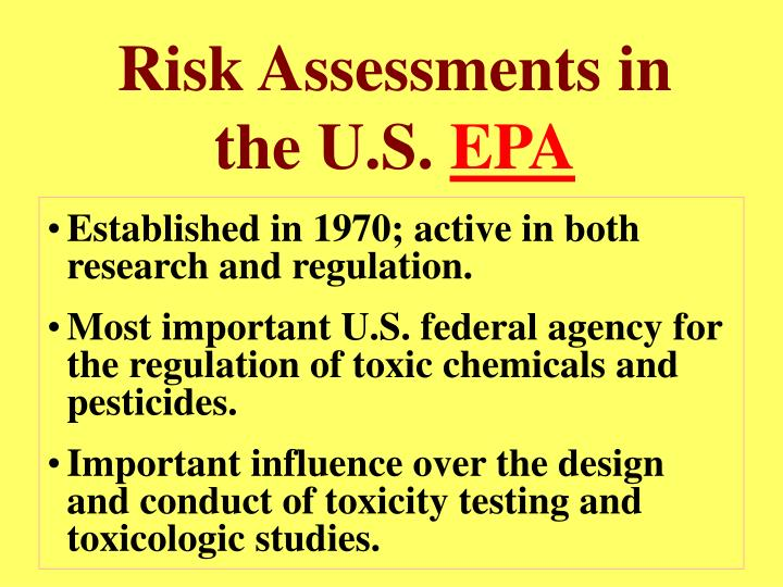 Risk Assessments in the U.S.