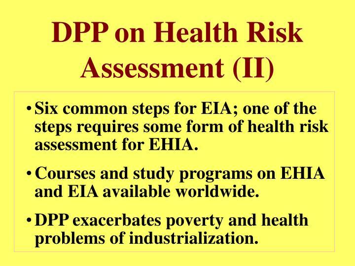 DPP on Health Risk Assessment (II)
