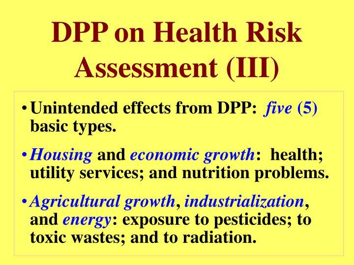 DPP on Health Risk Assessment (III)