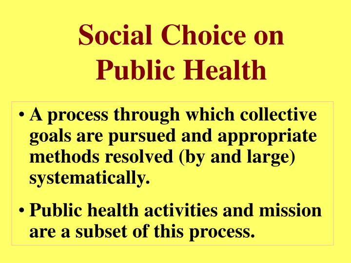 Social Choice on Public Health