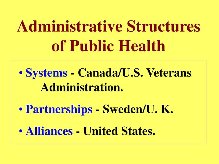 Administrative Structures of Public Health