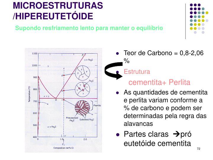 Teor de Carbono = 0,8-2,06 %