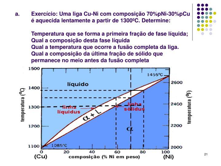 Exercício: Uma liga Cu-Ni com composição 70%pNi-30%pCu é aquecida lentamente a partir de 1300ºC. Determine: