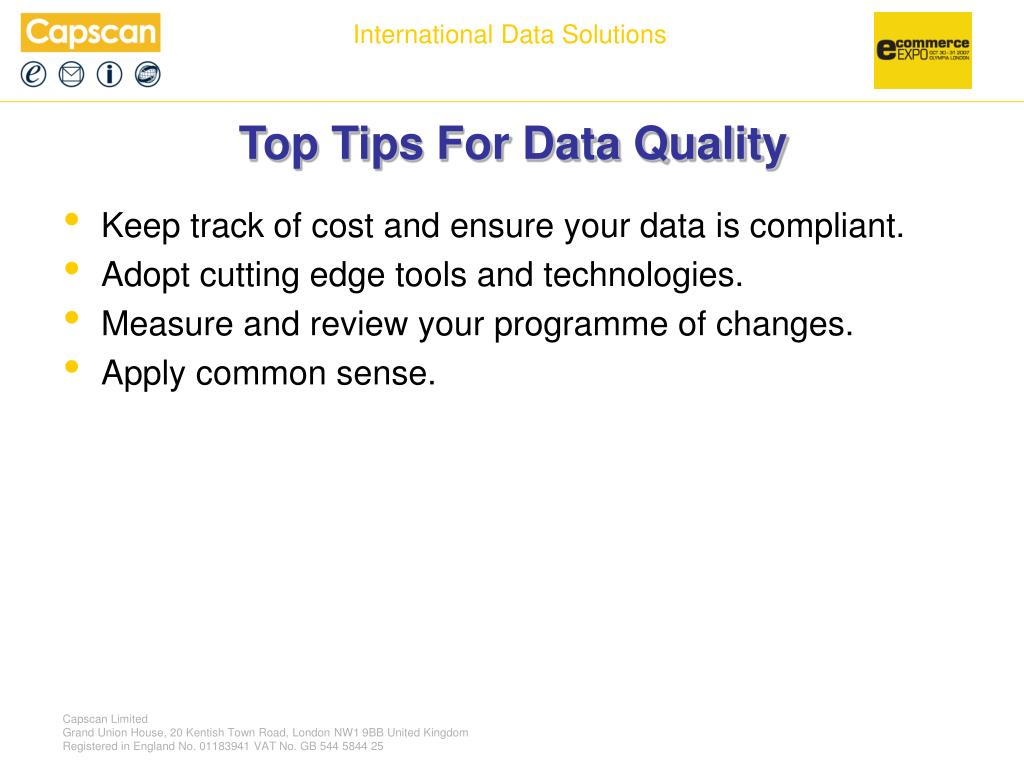 Top Tips For Data Quality