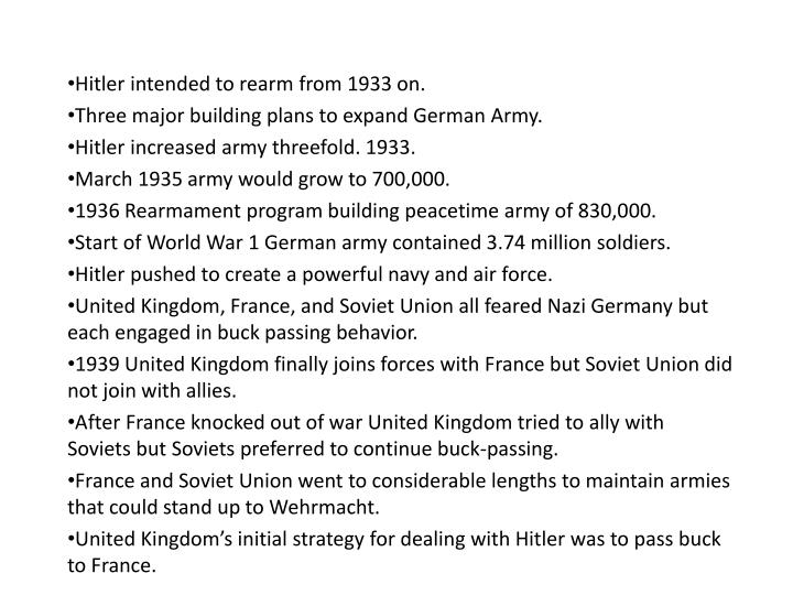 Hitler intended to rearm from 1933 on.