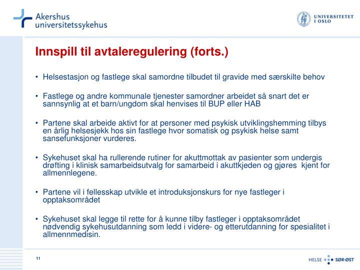 Innspill til avtaleregulering (forts.)