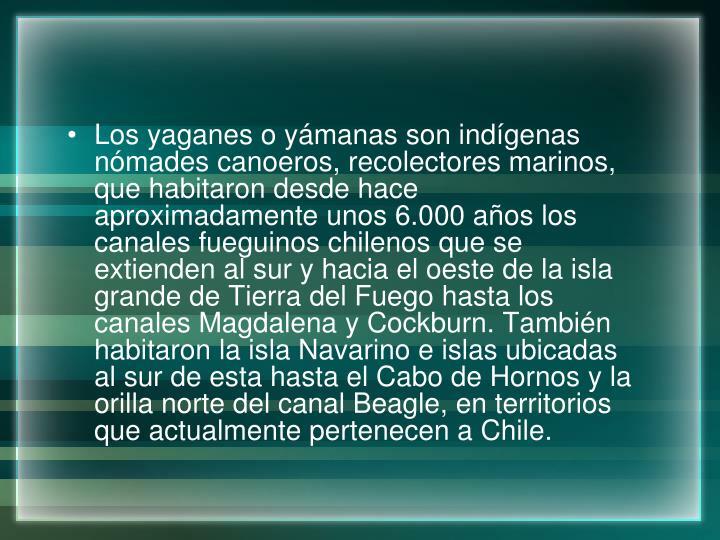 Los yaganes o yámanas son indígenas nómades canoeros, recolectores marinos, que habitaron desde hace aproximadamente unos 6.000 años los canales fueguinos chilenos que se extienden al sur y hacia el oeste de la isla grande de Tierra del Fuego hasta los canales Magdalena y Cockburn. También habitaron la isla Navarino e islas ubicadas al sur de esta hasta el Cabo de Hornos y la orilla norte del canal Beagle, en territorios que actualmente pertenecen a Chile.