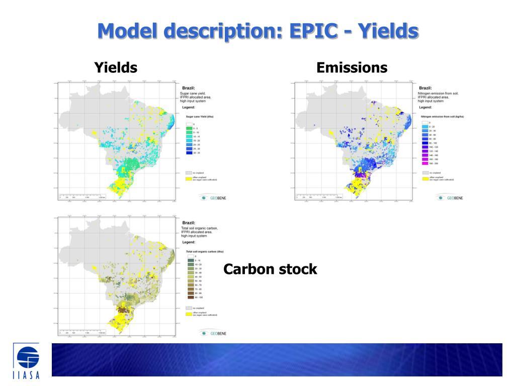 Model description: EPIC - Yields