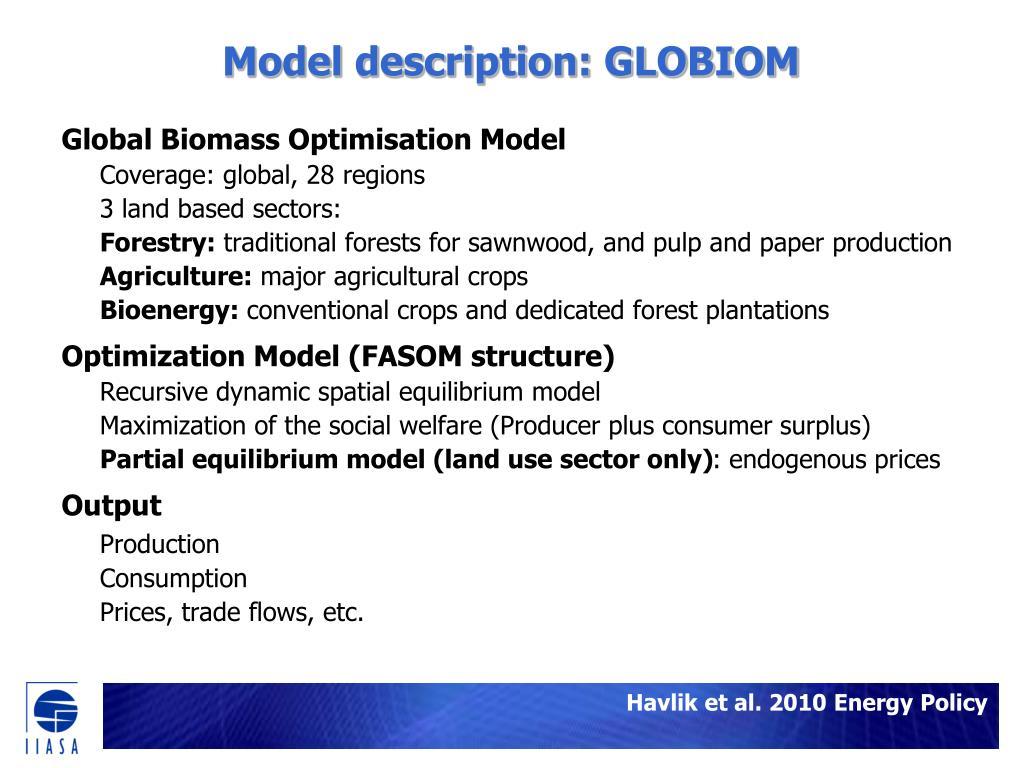 Model description: GLOBIOM