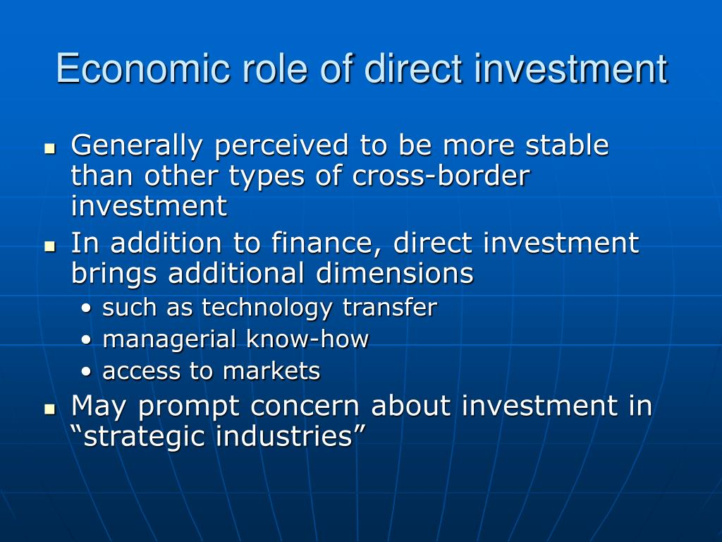 Economic role of direct investment