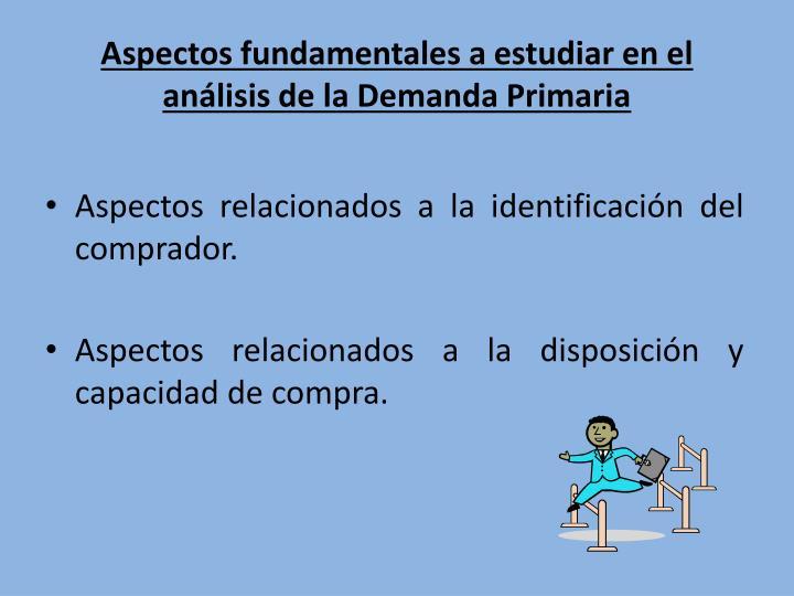 Aspectos fundamentales a estudiar en el análisis de la Demanda Primaria