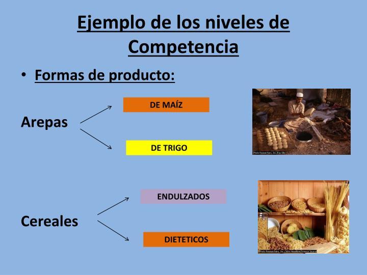 Ejemplo de los niveles de Competencia