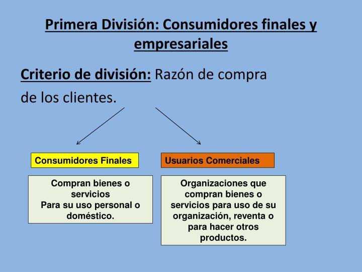 Primera División: Consumidores finales y empresariales