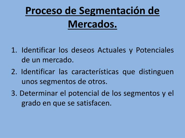 Proceso de Segmentación de Mercados.