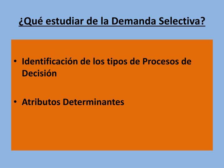 ¿Qué estudiar de la Demanda Selectiva?