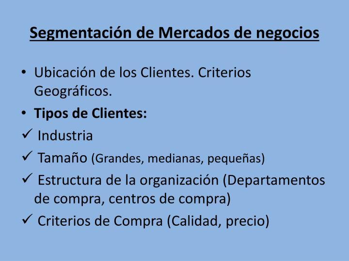 Segmentación de Mercados de negocios