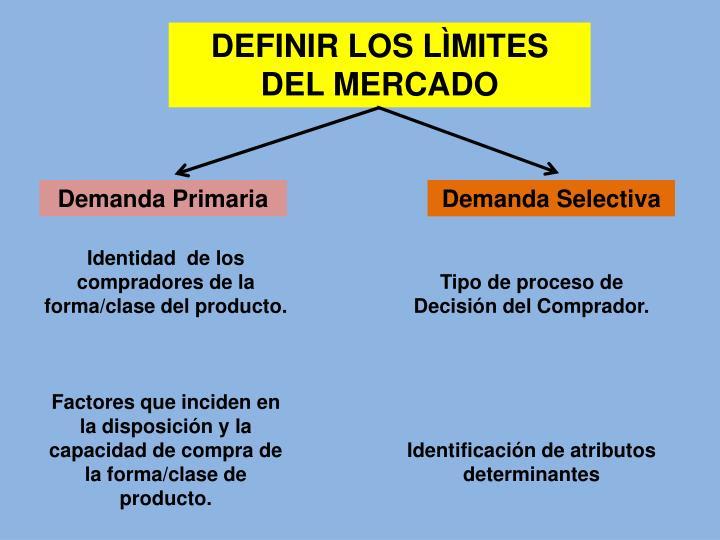 DEFINIR LOS LÌMITES DEL MERCADO