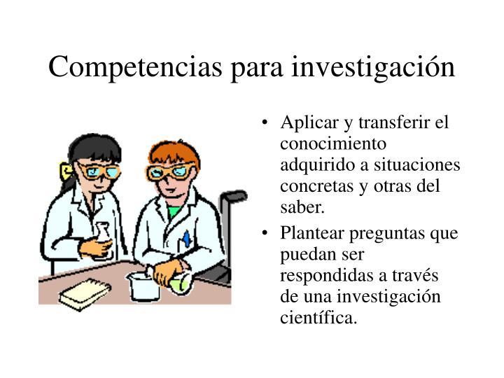 Competencias para investigación