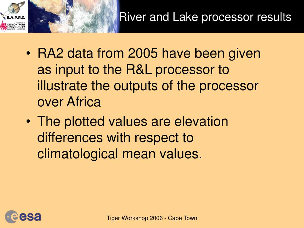 River and Lake processor results