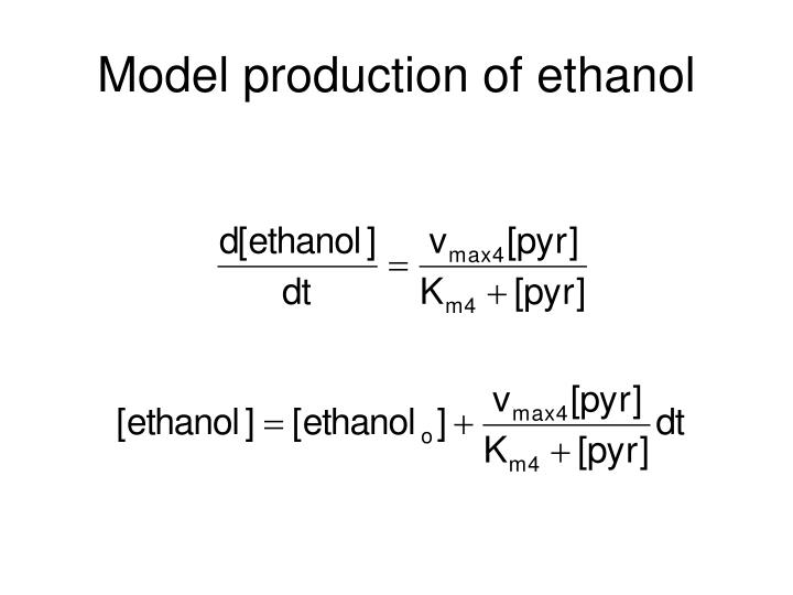 Model production of ethanol