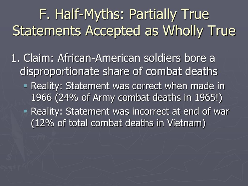 F. Half-Myths: Partially True Statements Accepted as Wholly True