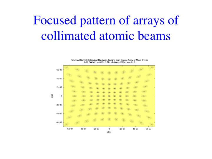 Focused pattern of arrays of collimated atomic beams